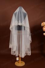 MAV-1009-T3 White Color 2 Layers Lace Applique Trim Sequined Regal Bridal Veil