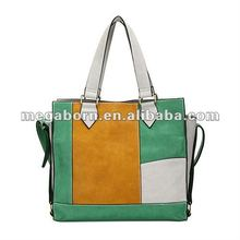 2012 Fascinating PU Leather Handbags With Colorful Block Design(MBNO021120)