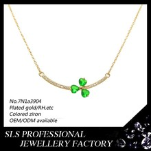Fine jewelry 18K/20K/22K gold plating Clover necklace, Christmas jewelry necklace with green stone for ladies