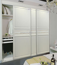 Classical European style closet wardrobe with sliding molded doors for bedroom furniture