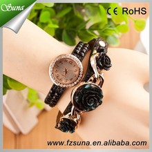 2015 Top Sales Business Vintage Quartz Flower Rose Wrist Watch For Women