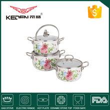 6pcs blue enamel cookware set, stock cookware set , stock cookware