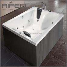 Luxury design spa massage acrylic 2 person indoor square mobile free standing bathtub