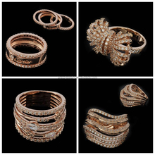 Very Hot Latest Micro Zircon Paved Fashion Long Rose Gold Ring Designs for Girls