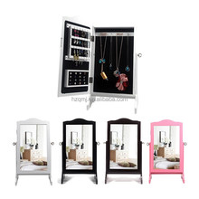Fashionable small mirror cabinet white jewelry chest lovely color
