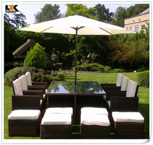 6-12 Seat BlackBrown Mix Weave with Cover & Parasol Havannah Cube Armchairs Outdoor Furniture
