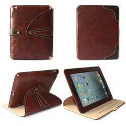 Retro Fashion 360 Rotating Flip Leather Cover Smart Case with Stand for iPad 2 3 4