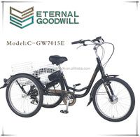 Wholesale electric adult tricycle cargo motor 7 speeds bicycles battery bisiklet GW7015E for adults wholesale china bikes
