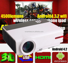 3D 4500lumen Wifi Projector Android 4.2.2 Full HD LED Daytime LCD projectors projektor proyector Beamer home cinema