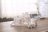 Antique floral bone china teapot modern fine china tea coffee set