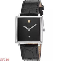 Cool Blcak Genuine Leather and Dial Rose-Tone Case men leather watch