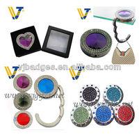 novelty gifts items round rhinestone folding handbag hookbag hanger