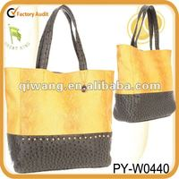 new design crocodile embossed lady tote handbag with ostrish leather trim