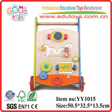 OEM Goodkids hot sale and multi-functional wooden baby walk learning toy colorful funny walker toy