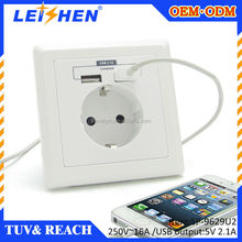 Hot selling euro electrical socket usb 220v outlet,wall socket with usb port