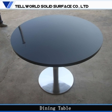 Under Promotion!High quality Polished high glossy modern black artificial stone two seat dining table