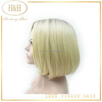 China human hair Full Lace Wig, yaki bob human hair wig
