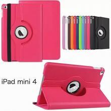 360 degree rotation PU leather Multi-Angel Stand Case for iPad Mini 4