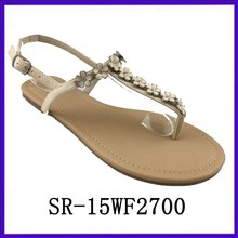 T strap beaded slingback sandals shoes new designs flat sandals 2015 ladies sandal shoes