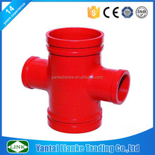 fm\/ul ductile iron astm a-536 grade 65-45-1 red grooved pipe fittings threaded cross 500psi
