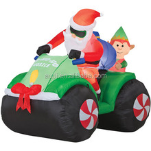 Inflatable Christmas decoration santa driving the car with gift