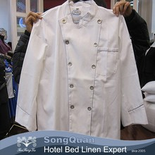 High Quality long sleeve black color stud buttons executive chef coat chef jacket chef uniforms-SQJC150240