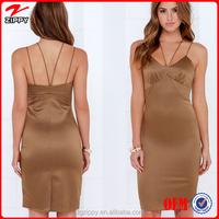Women silk apparel Midi wholesale new fashion dress