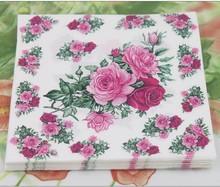 Food-grade Purple Rose Paper Napkin Festive & Party Tissue Napkin Supply Decoration
