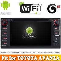 Pure android 4.4 system car dvd gps navigation fit for TOYOTA AVANZA 2003-2010 WITH CHIPSET WIFI 3G INTERNET DVR OBD2 SUPPORT