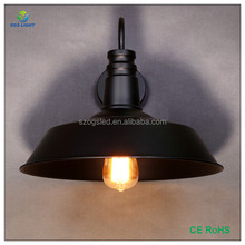 D360 mm American Rustic Black Metal Wall Sconce Edison Bulb Outdoor Wall Lamp