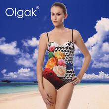 Olgak New Girls Shiny Sexy Swimsuit One-piece Digital Printing swimwear