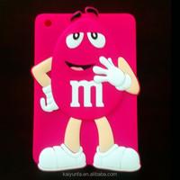 hot sell silicone cute case for ipad mini m&m chocolate cartoon
