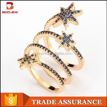 Infinity design ladies fashion dubai jewelry imitation diamonds blue zircon gold ring jewelry wholeslae