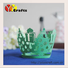 Christmas party decoration filigree Indian Laser cut cupcake wrapper Green Christmas tree cupcake wrappers