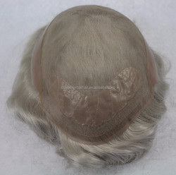 wholesale top quality comfortable toupee skin cap mens curly hair wigs with gray hair for old men