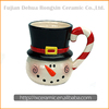Snowman design color glazed ceramic mugs for coffee and tea