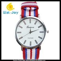 WJ-5122 china factory woven nylon strap elegant fancy quartz GENEVA brand wrist watch
