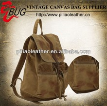 Tea washed vintage men waterproof waxed canvas backpack