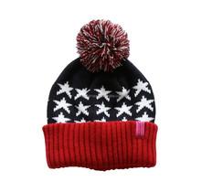 2015 Acrylic jacquard star patterned knitting pom pom hat cap