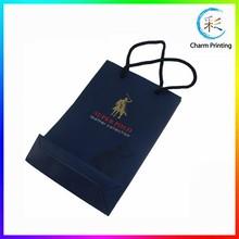 Matte Finished Gold Stamping Logo Paper Shopping Bags, Popular Paper Gift Bag For Belt