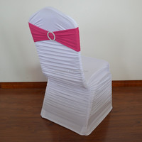 White ruched spandex chair cover and fuchsia spandex band with buckle
