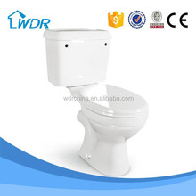 Two piece ceramic wall outlet toilet bowl price