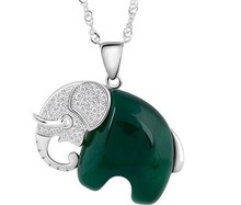 folk-custom cute special natural green agate stone 925 sterling silver Thailand elephant pendant