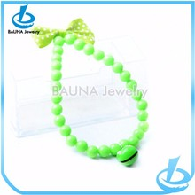 Apple green plastic beaded wholesale pet jewelry with bell