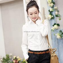 HJC-8094 2015 New lady shirt Fashion long sleeve cotton white women formal blouse