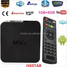 MXQ TV BOX Amlogic S805 Quad Core Android 4.4 Kitkat 4K 1GB 8GB XBMC WIFI Airplay Miracast 3D android tv box av output