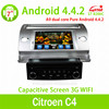 High quality Quad Core 1.6G CPU 16GB Flash Pure android 4.4.4 Car dvd for Citroen C4 radio gps