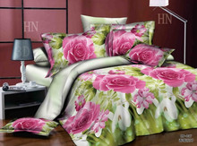 Alibaba china 100% polyester blooming high quality microfiber bedding set