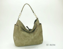 BRONZY PU HOBO BAG WITH PARTIAL CHAIN HANDLE AND BRAIDED ZIP TAB