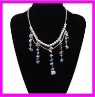 2015 wholesale lastest design opal beads pearl necklace costume jewelry